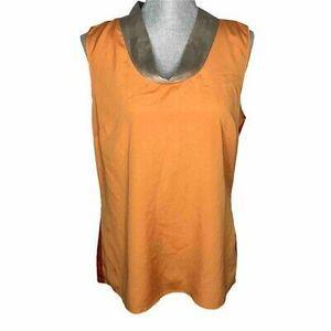The Limited Blouse 2 Tone Orange Sleeveless Beige